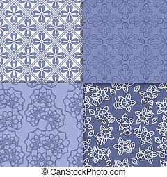 Violet and white floral wallpaper pattern set