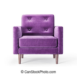 armchair - violet armchair isolated on a white. 3d...