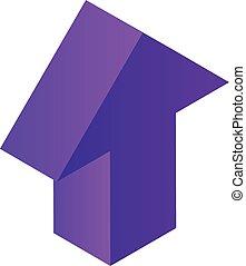 Violet arrow icon, isometric style