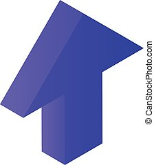 Violet arrow up icon, isometric style