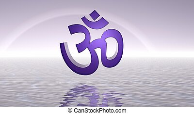 Violet aum / om upon the sea and with a rainbow behind