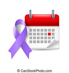 Violet awareness ribbon and calendar