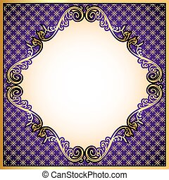 violet  background a frame with a gold ornament