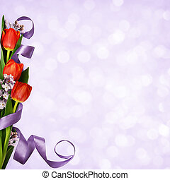 Violet background with red tulips, lilac flowers and silk ribbon