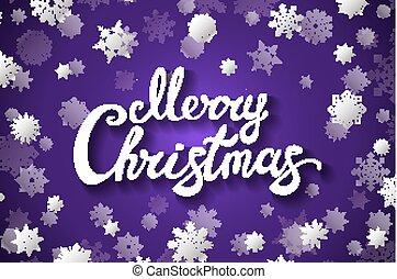 violet background with snowflake Merry Christmas lettering design. Vector illustration EPS 10 violet background