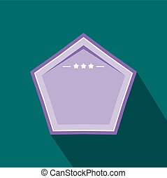 Violet badge with three stars icon, flat style