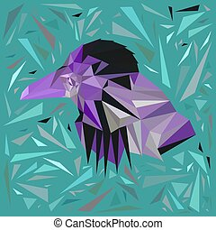 Violet bird in a frame of scattered azure triangles.