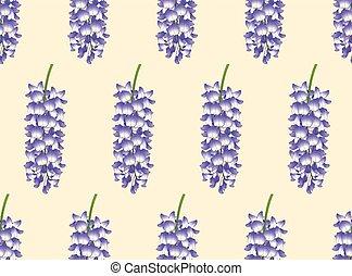 Violet Blue Wisteria on Ivory Beige Background