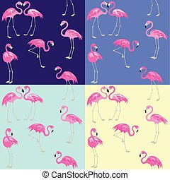 Violet, blue, yellow and mint color fashion wallpapers with cute pink flamingo