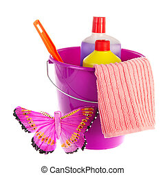 Violet bucket for cleaning