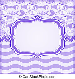 Violet Card with Fish and Wave Pattern on Background