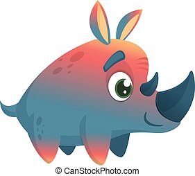 Violet cartoon rhino. Vector image of colorful rhino mascot