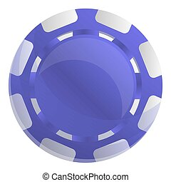 Violet casino chips icon, cartoon style