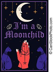 Violet Cats and the Moon. Praying hands holding a rosary. I...