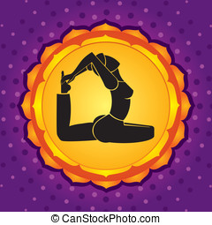 Violet chakra - Woman standing in yoga pose against violet...