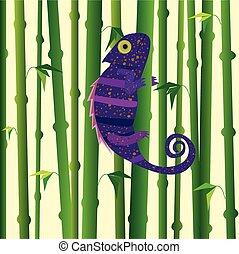 Violet chameleon walking on green bamboo. Bamboo forest background