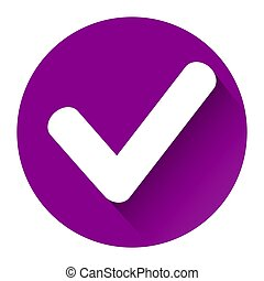violet check icon with shadow on white background
