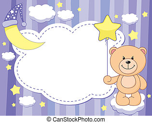 violet child background with moon and teddy bear