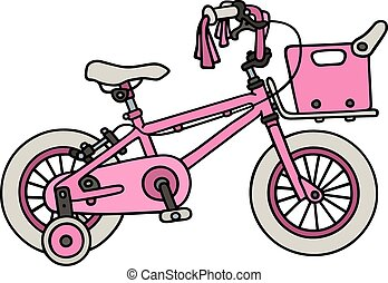 Hand drawing of a violet child bike