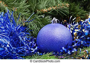 violet Christmas bauble, tinsel, Xmas tree 2