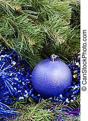 violet Christmas bauble, tinsel, Xmas tree 3