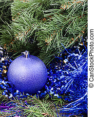 violet Christmas bauble, tinsel, Xmas tree 4