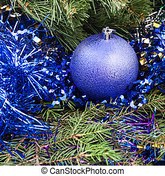 violet Christmas bauble, tinsel, Xmas tree 5