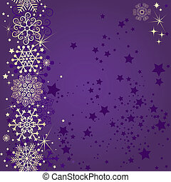 Violet christmas frame with gold snowflakes and stars...