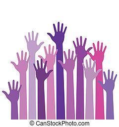 Violet colorful up hands