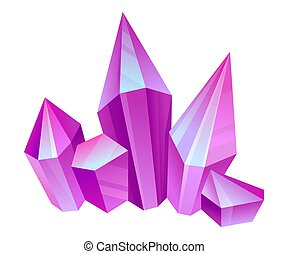 Violet crystals. Vector illustration on a white background.
