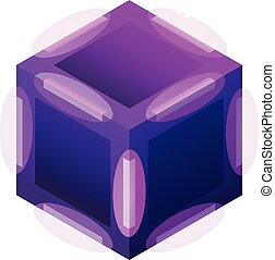 Violet cube icon, isometric style