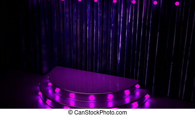 violet curtain stage with golden podium and lights