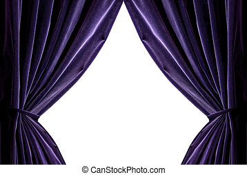 violet curtains isolated on white