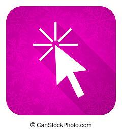 violet, déclic, icône, noël, bouton, plat, ici
