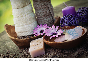 violet dayspa nature set - Spa and wellness setting with...