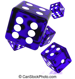 Violet Dice - 3D violet rolling dice on white background