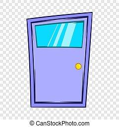 Violet door icon, cartoon style