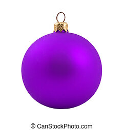 Violet dull christmas ball on white background