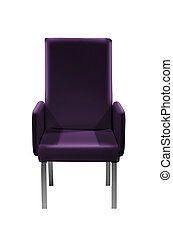 Violet easy armchair isolated on white background