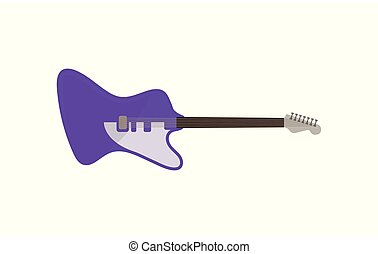 Violet electric guitar, rock music instrument vector Illustration on a white background