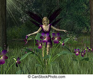 Violet Fairy in Spring Woodland - Pretty blonde Violet Fairy...