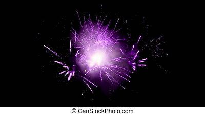 Violet fireworks 4k