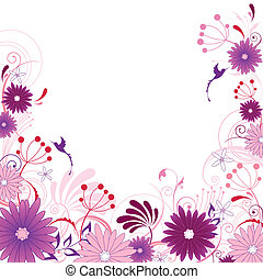 floral background with flowers, leaves, ornament and birds