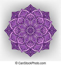violet floral round ornament - vector illustration. eps 8