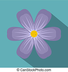 Violet flower icon, flat style
