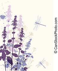 Abstract floral background with violet flowers and dragonfly