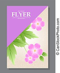 Violet flowers on a flyer. Can be used as greeting cards or wedding invitation. Vector