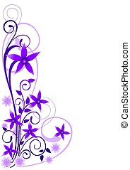 Violet Flowers Ornament on white background