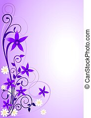 Illustration of violet flowers and curly shape ornaments