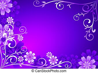 Ornament of violet flowers on purple background